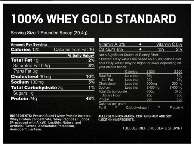 optimum gold standard whey besin değeri